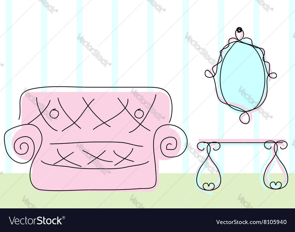 Room view in doodle sketch style vector image