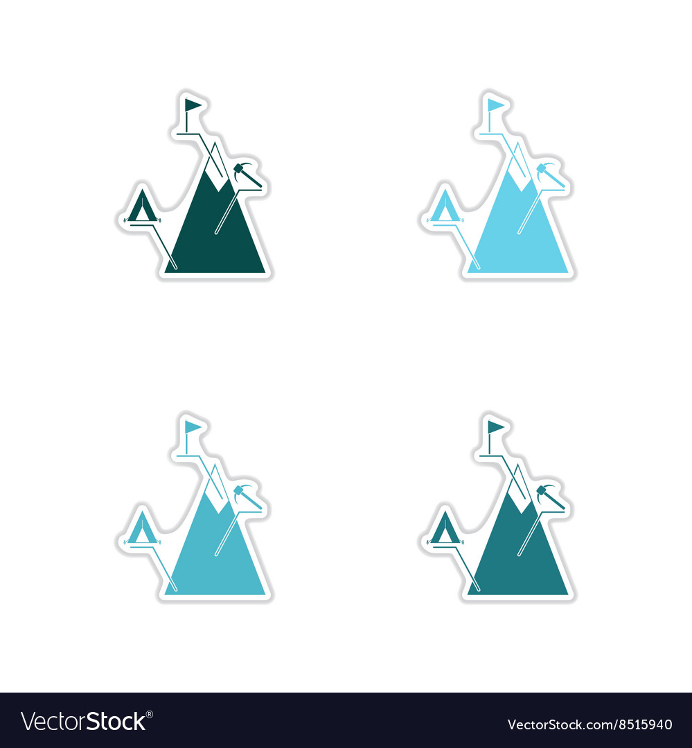 Set of paper stickers on white background mountain