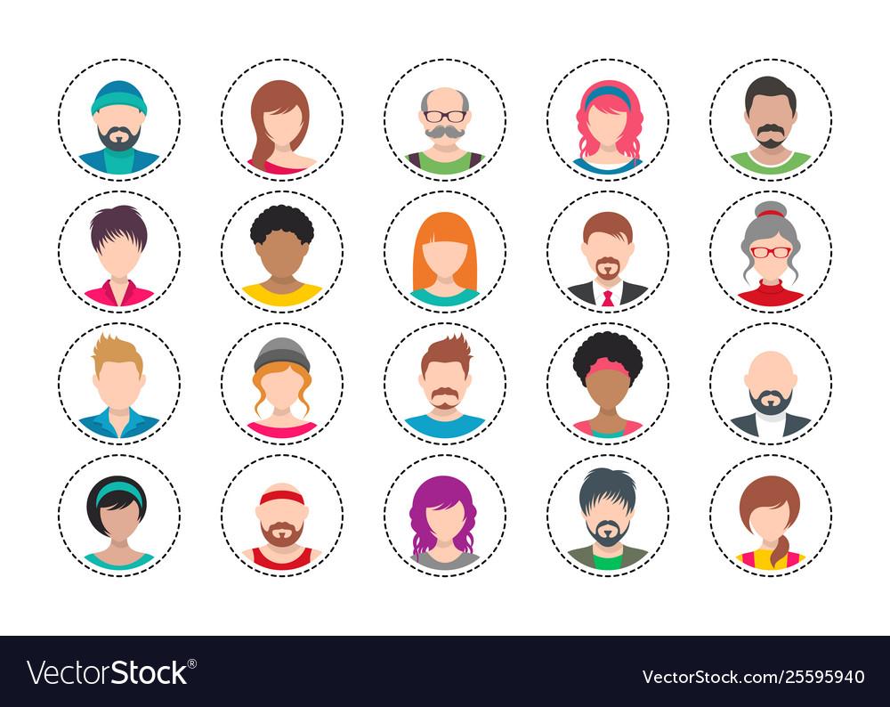 Twenty colorful people avatar icons set