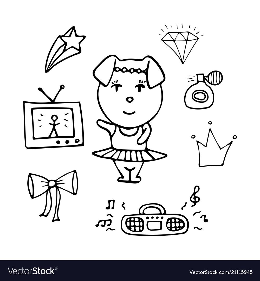 Amusing monochrome pig the dancer in a tutu vector image