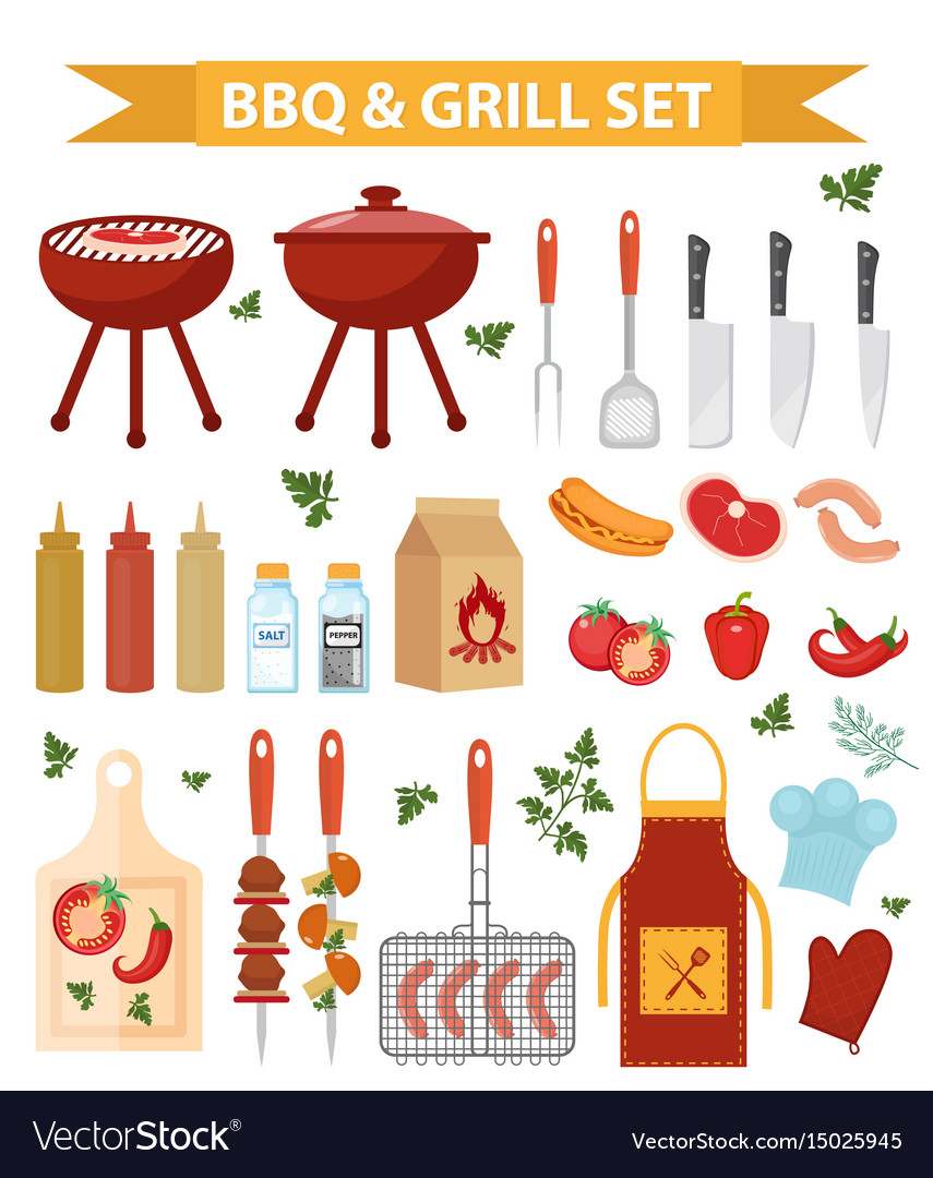 Barbecue and grill icons set flat or cartoon