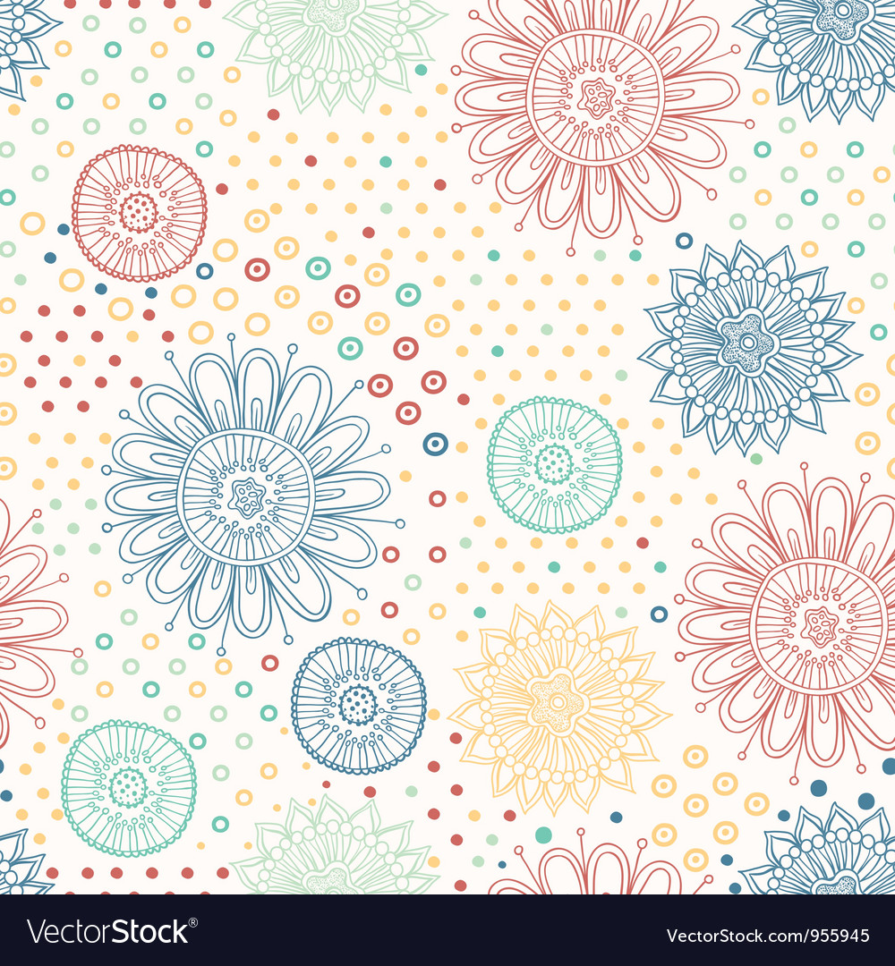 Floral seamless abstract hand drawn pattern
