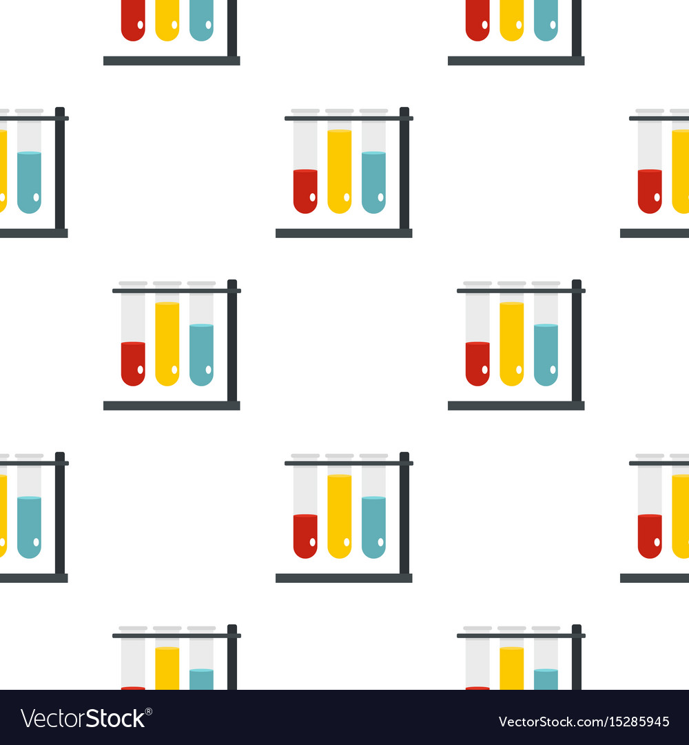 Medical test tubes in holder pattern seamless vector image