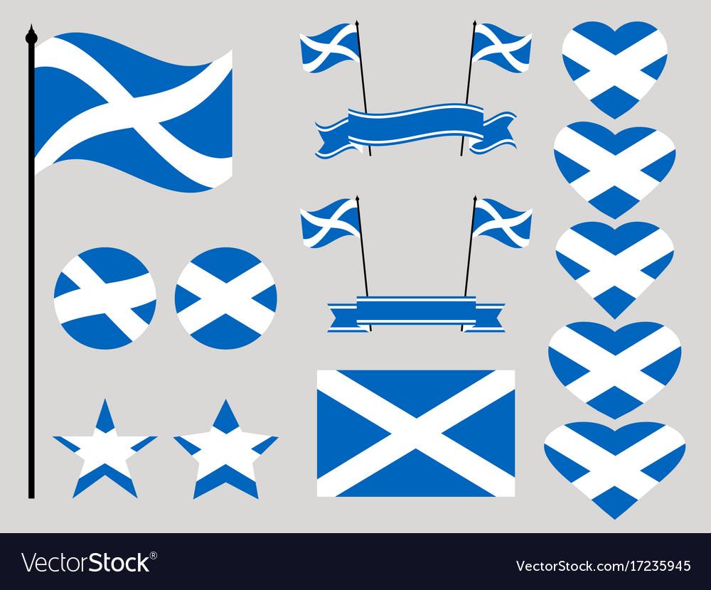 Scotland flag set collection of symbols heart