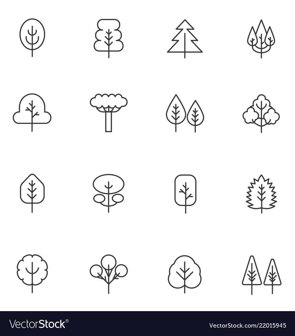 Tree thin line icons set collection