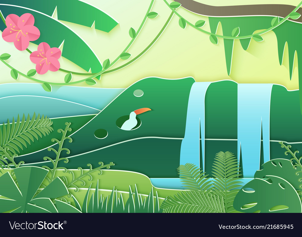 Trendy paper cuted style forest world