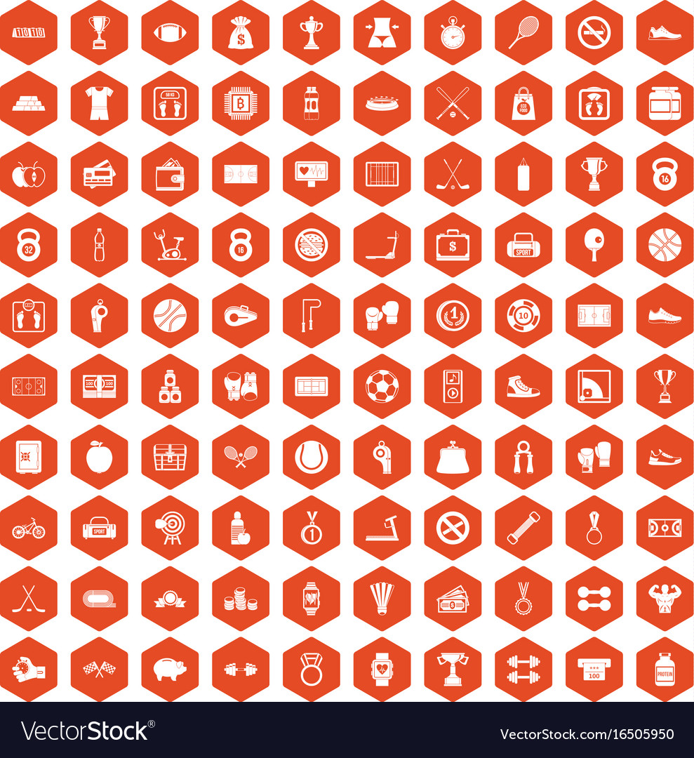 100 basketball icons hexagon orange