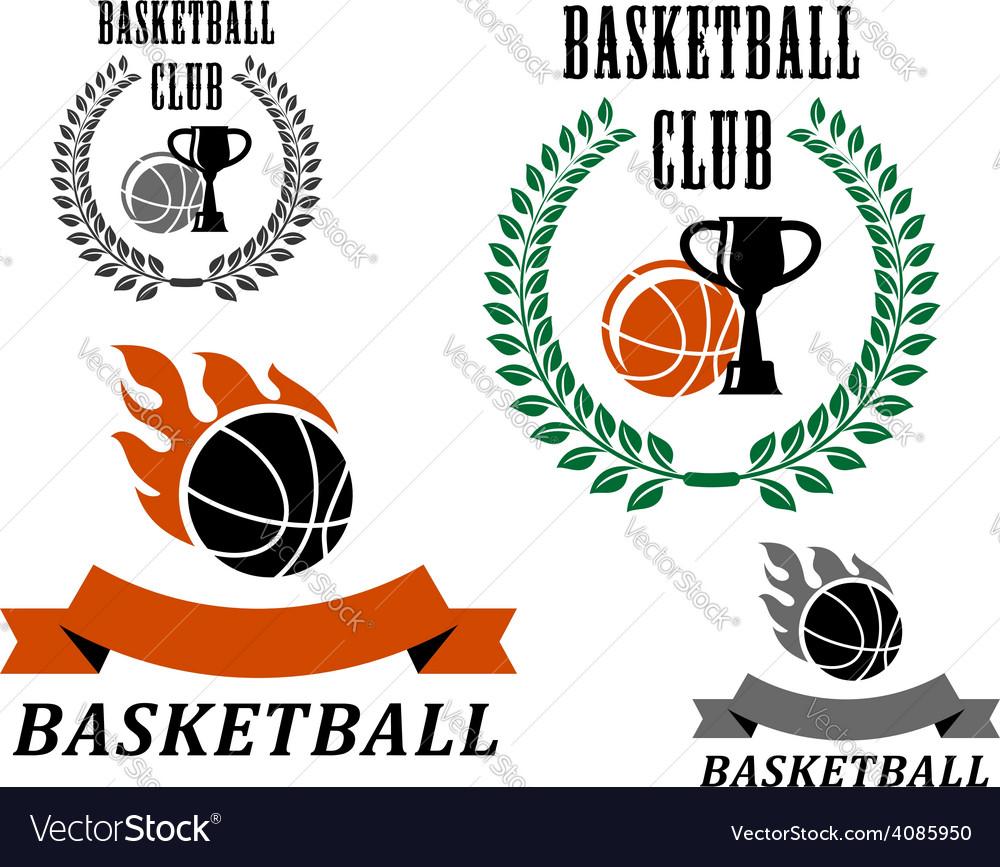 Basketball game emblems and symbols vector image