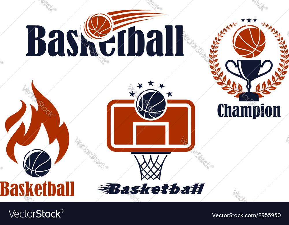 Basketball Sport Team Emblems And Symbols Vector Image
