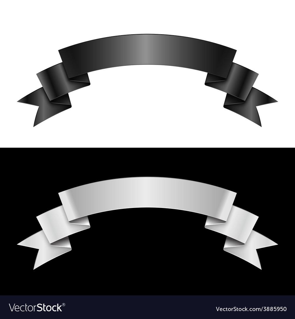 Black and white ribbon vector image