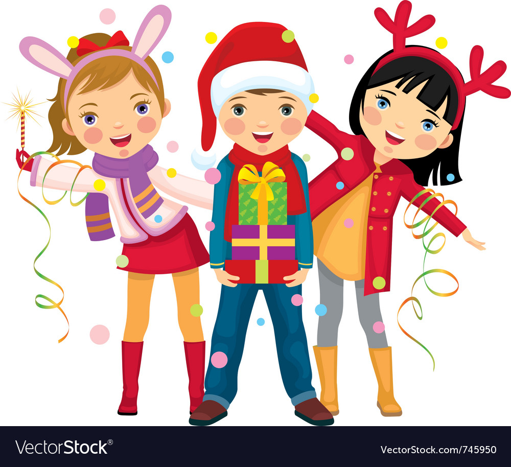 Childrens christmas party a surprise Royalty Free Vector