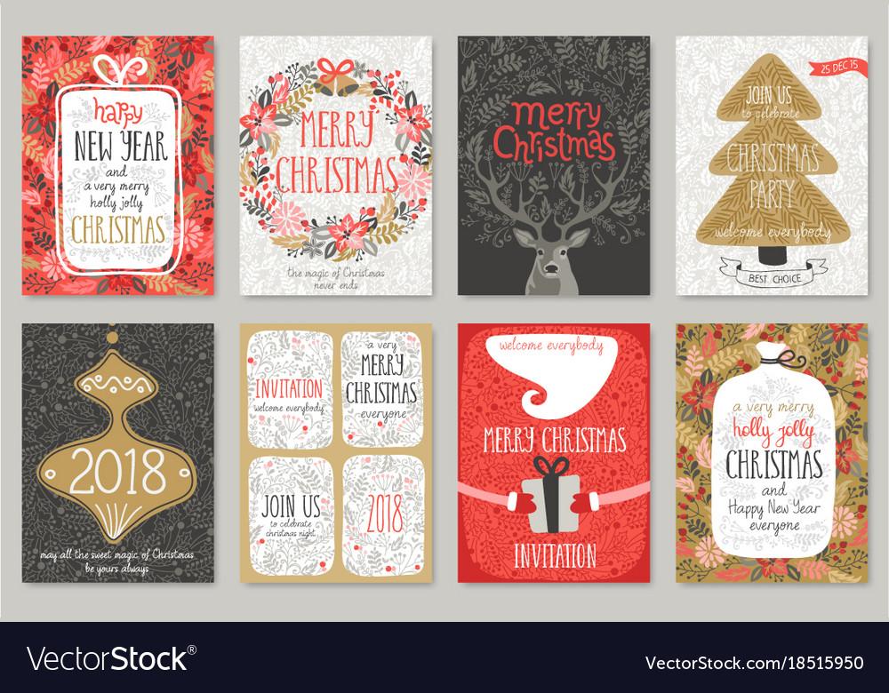 Christmas hand drawn card set christmas hand