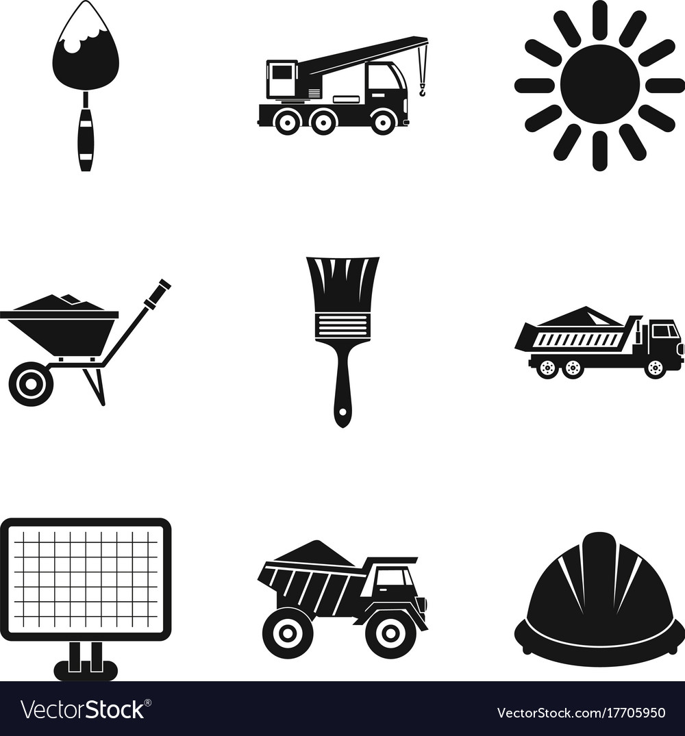 Construction Machinery Icons Set Simple Style Vector Image