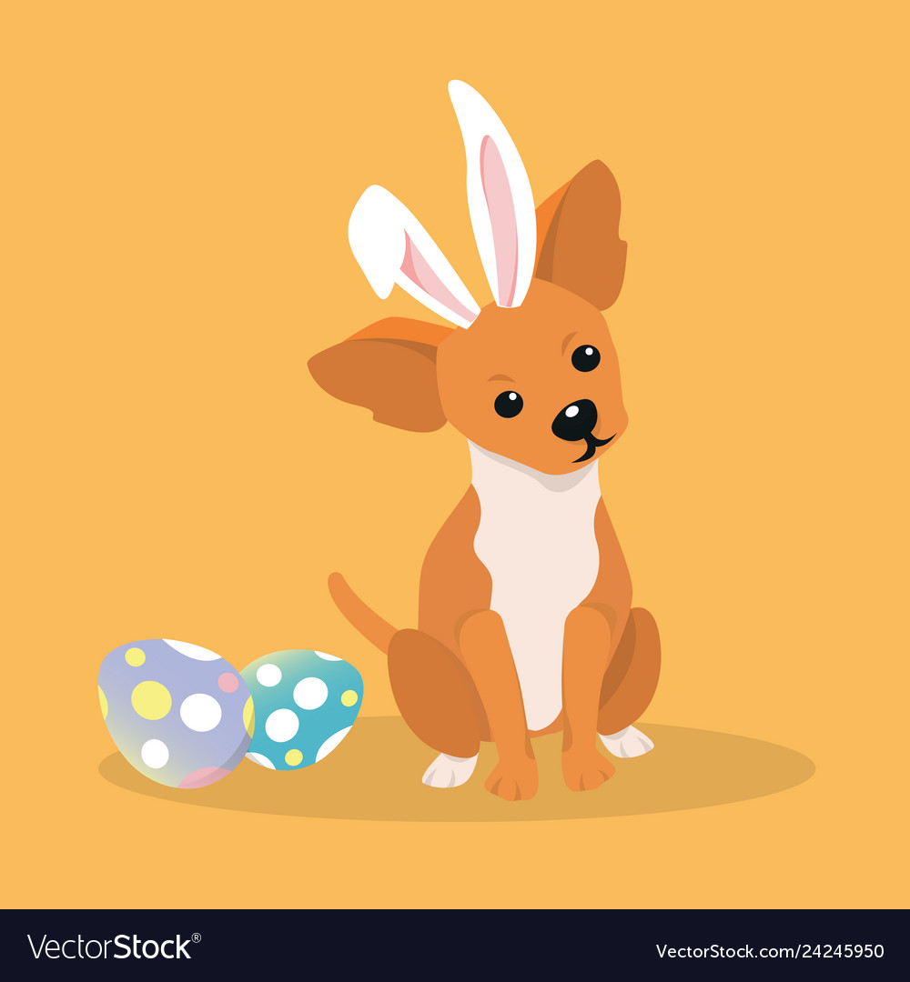 Dog as easter hare with easter eggs