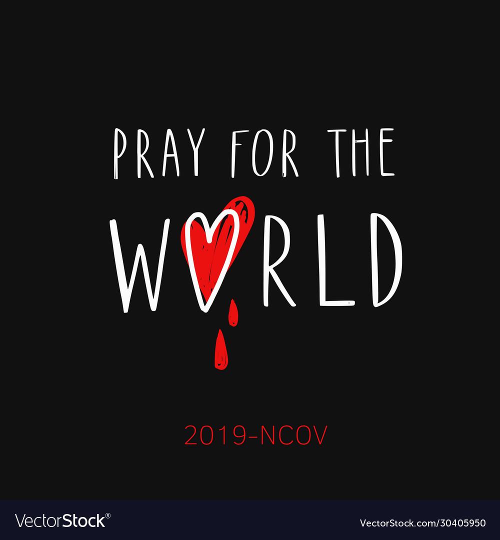 Pray for world handwritten lettering