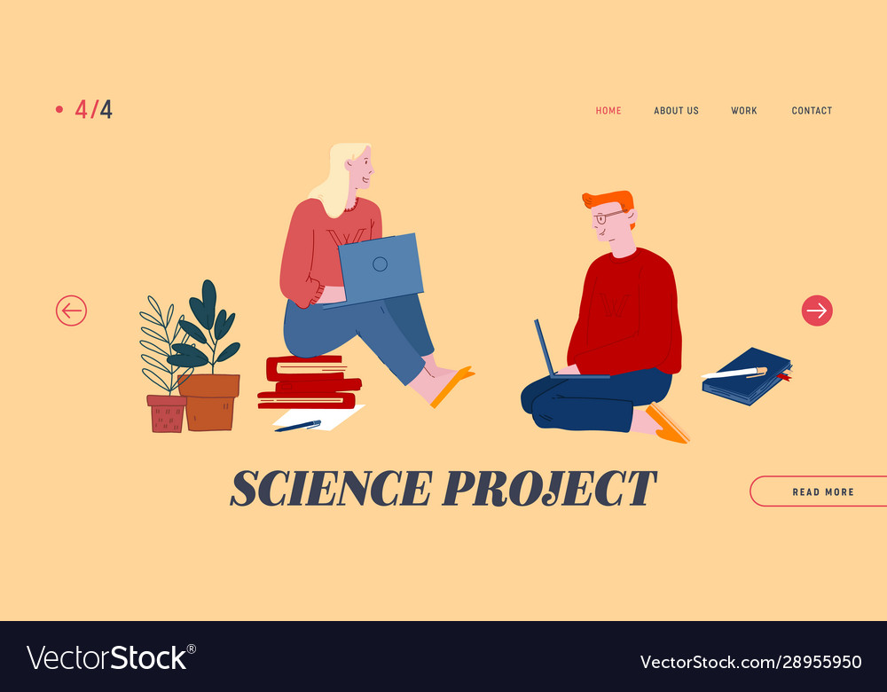 Science project website landing page man and
