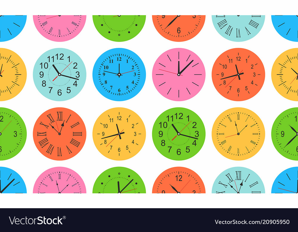 Seamless pattern with colorful round wall clock