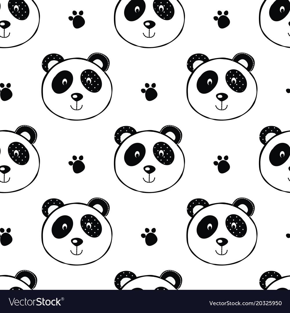 Seamless pattern with panda