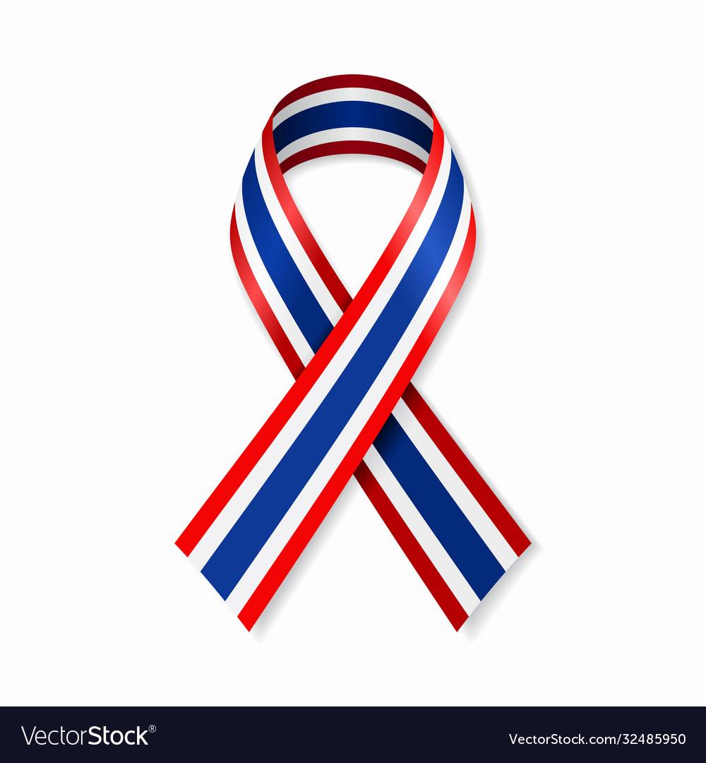 Thai flag stripe ribbon on white background