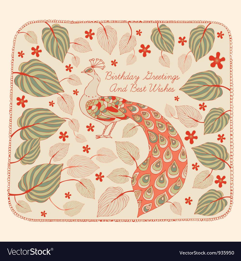 Vintage Peacock Birthday Card vector image