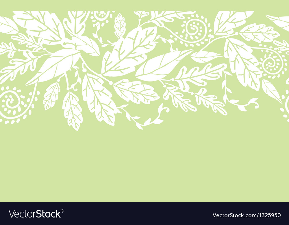 White flowers and leaves horizontal seamless