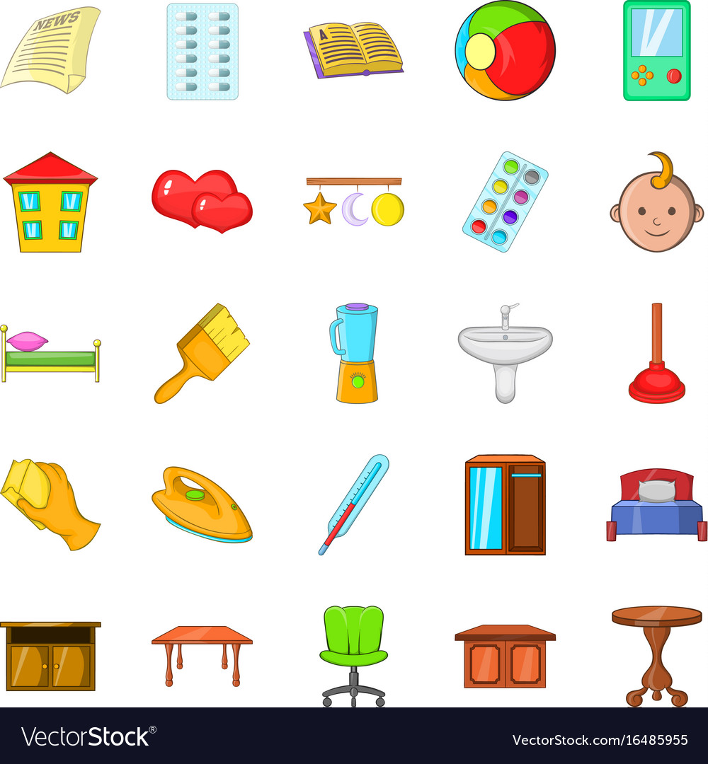 Apartment icons set cartoon style vector image
