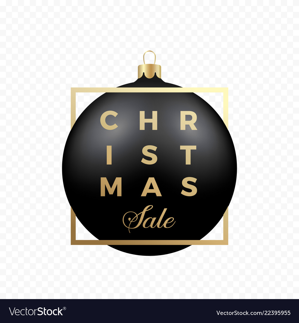 Christmas sale banner or sticker black ball on