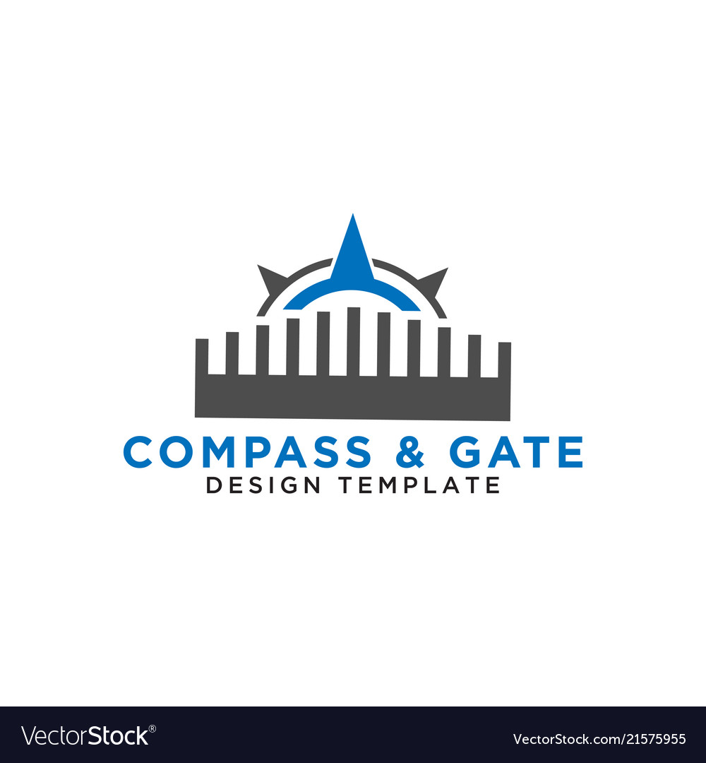 Compass and gate logo design template