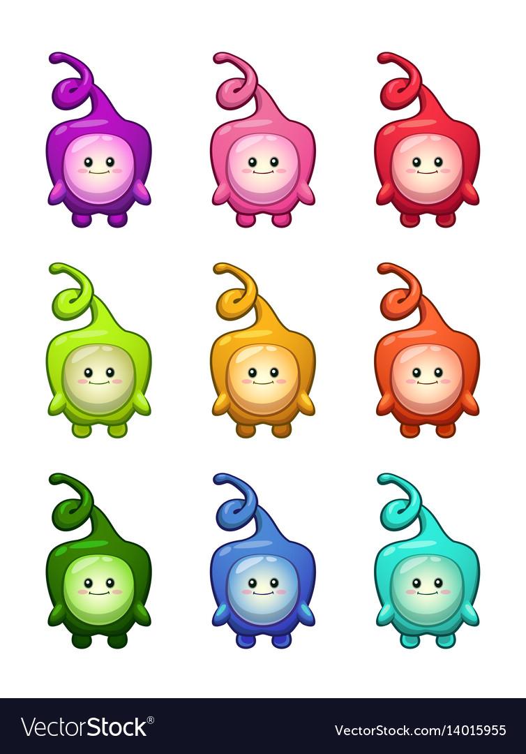 Cute cartoon colorful alien characters set