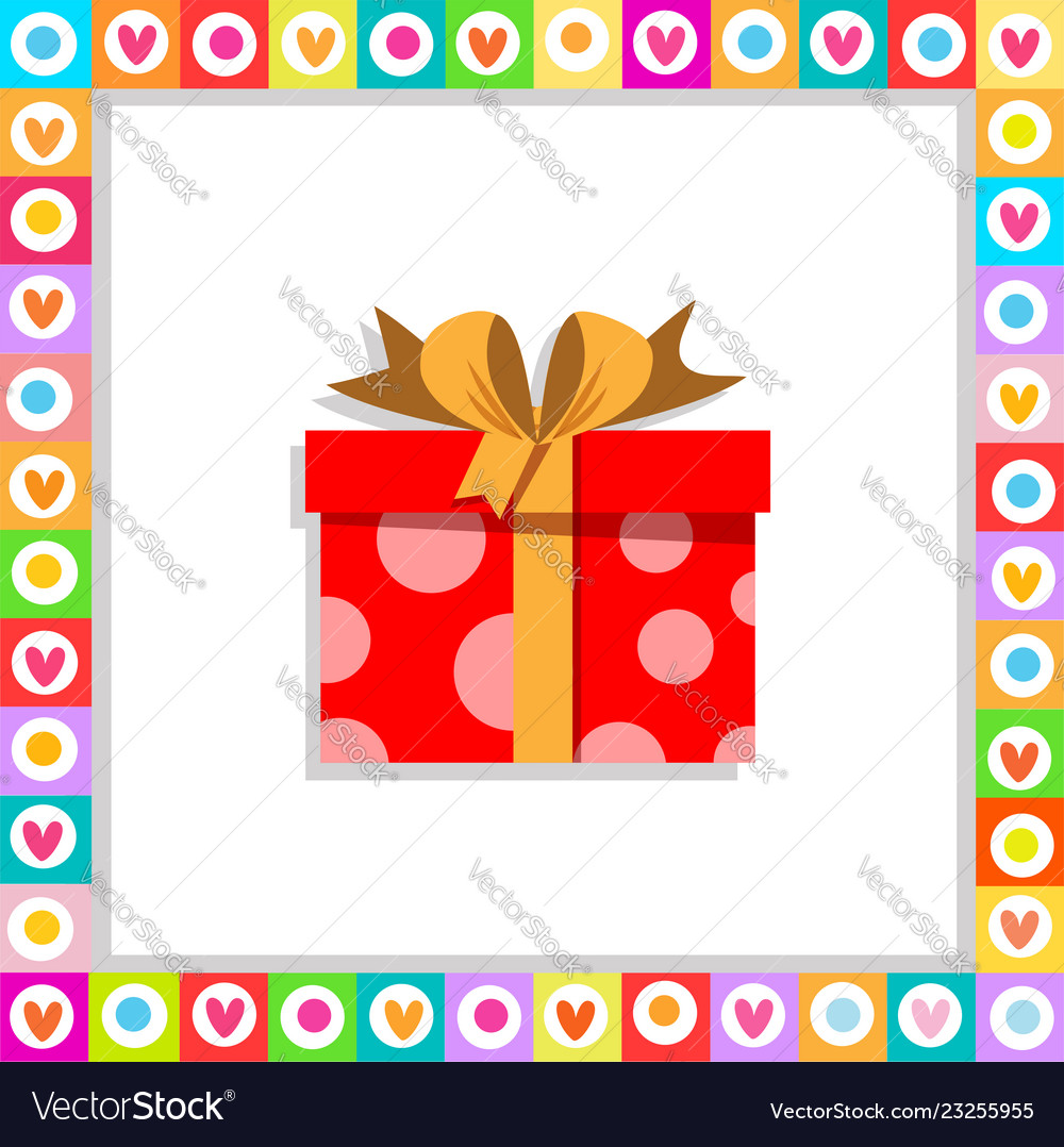Cute cartoon red gift box wrapped with festive