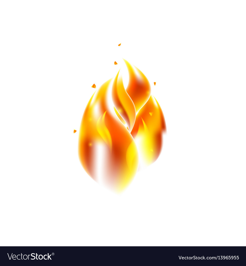 Fire flame over white