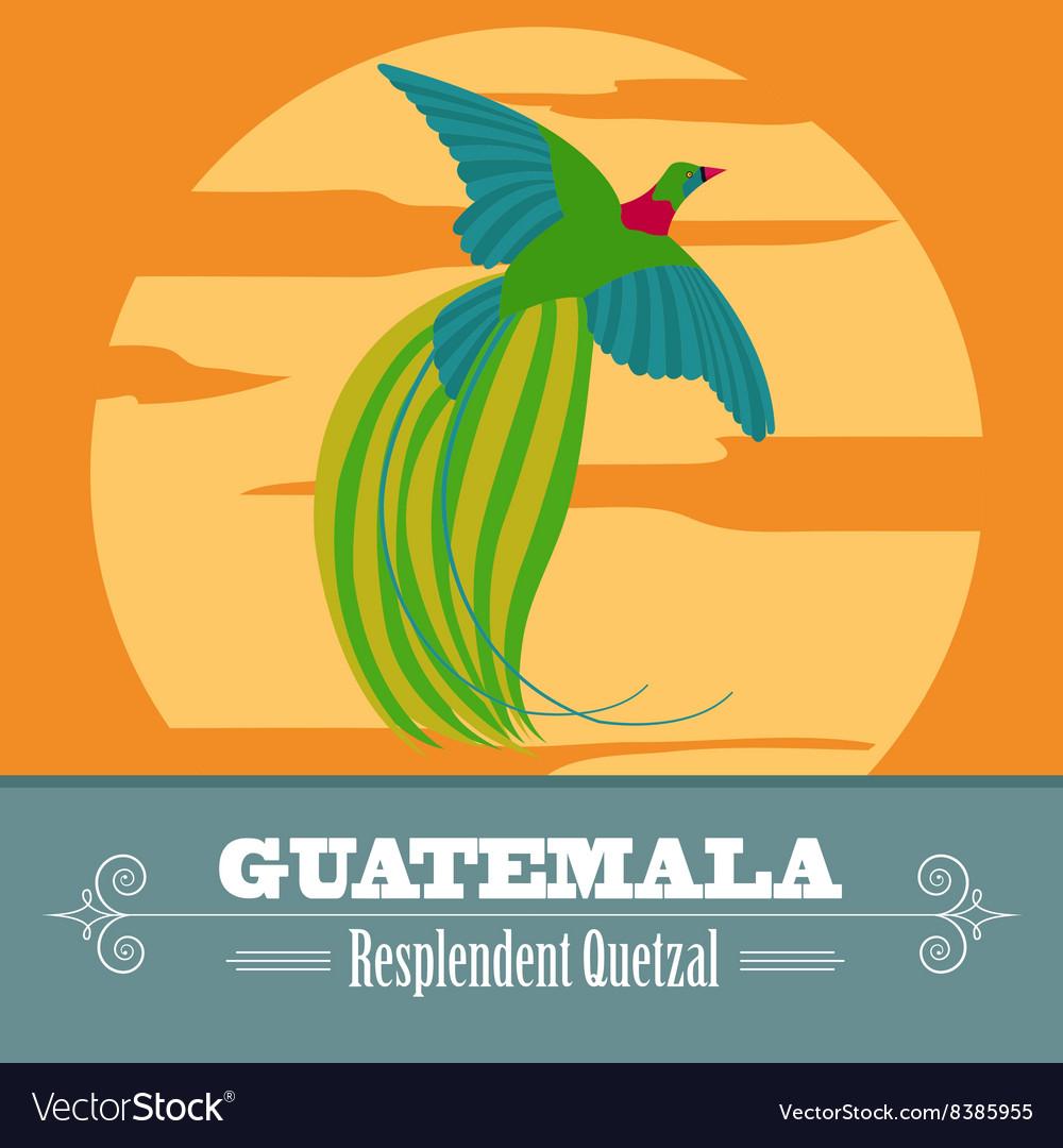 Guatemala landmarks Retro styled image vector image