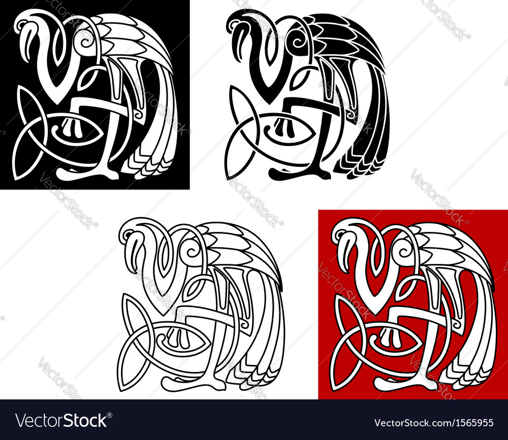Heron bird in celtic style vector image
