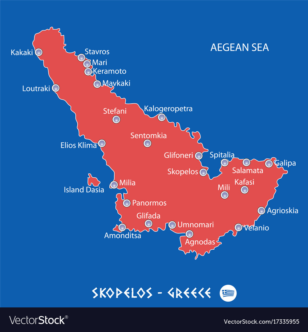 Map Of Skopelos Island Island of skopelos in greece red map Royalty Free Vector