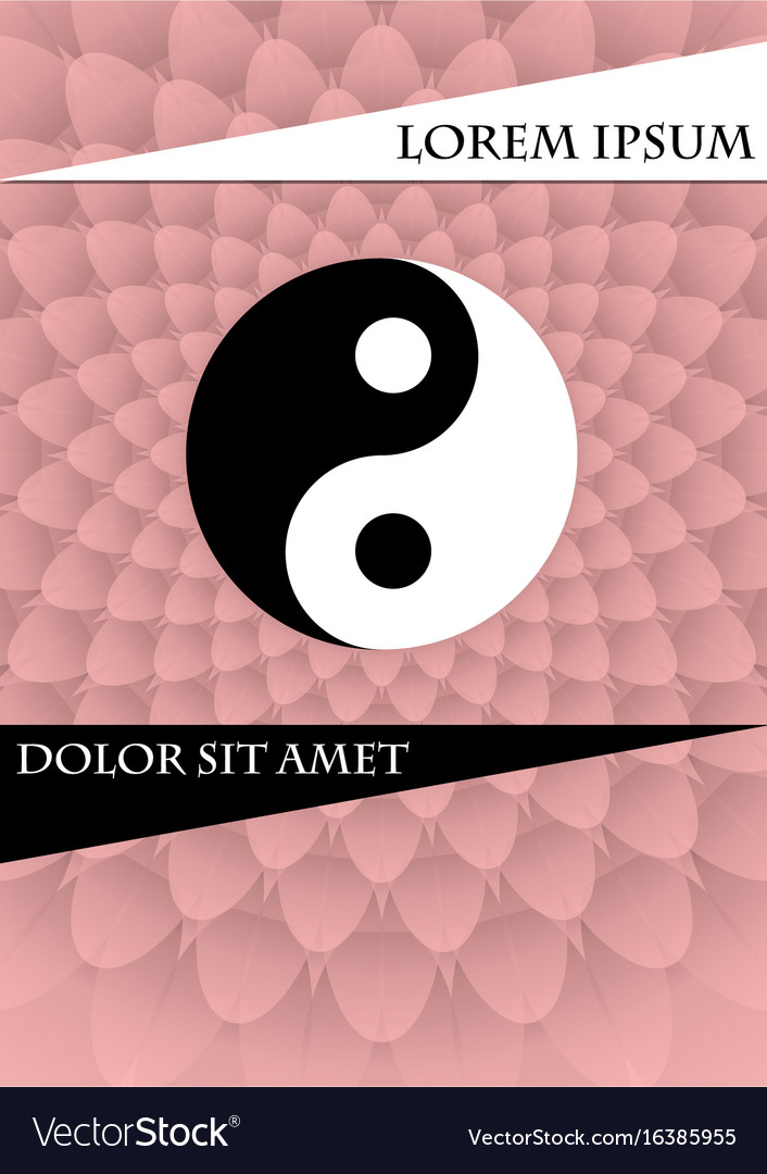 Jin jang symbol on pink textured background book