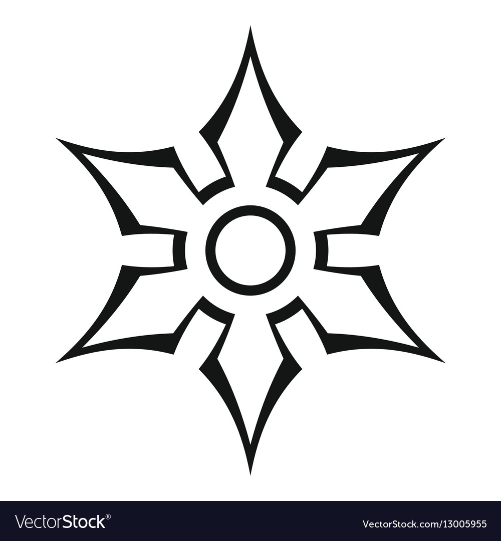 Ninja shuriken star weapon icon outline style vector image