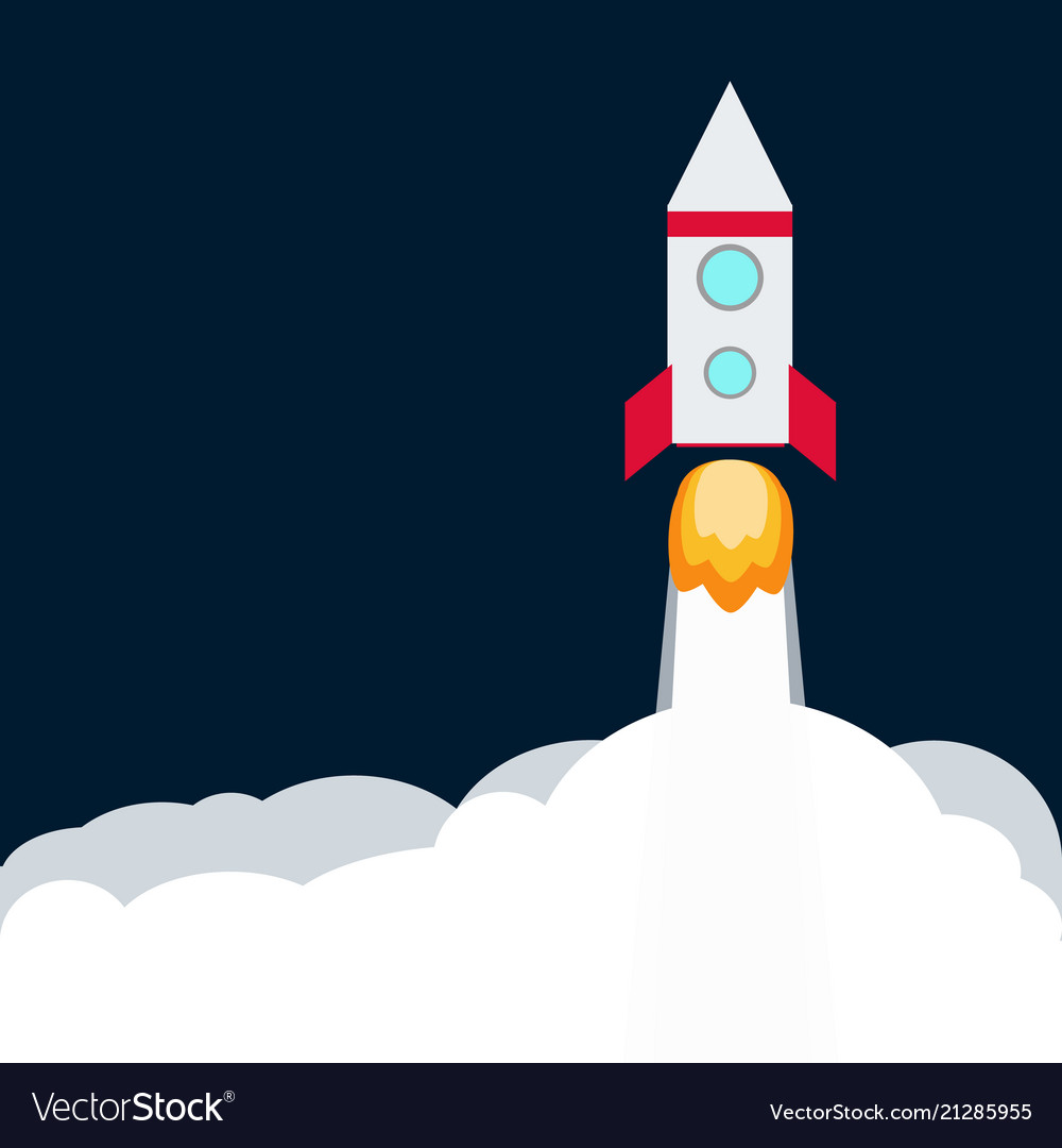 Rocket spaceship take off with fire colored