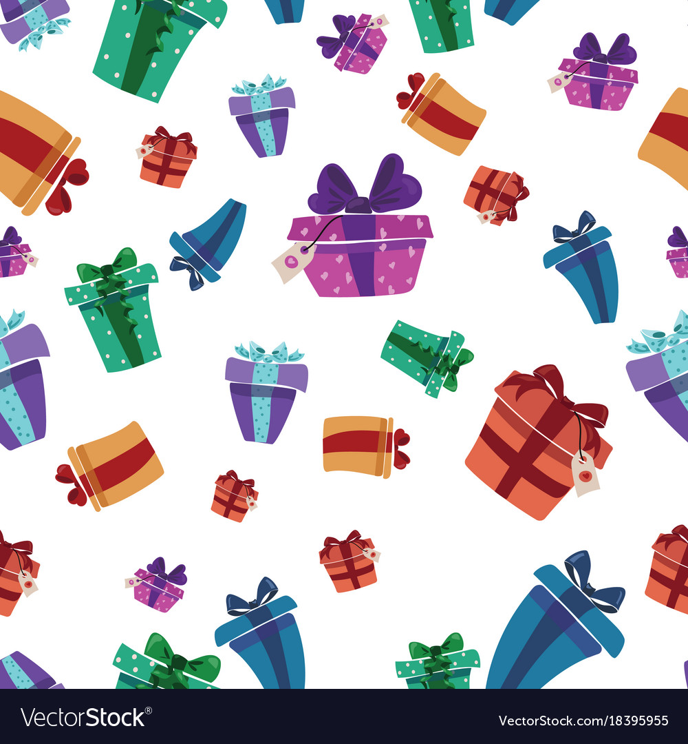 Christmas Gift Wrapper Design.Seamless Texture With Gift Wrapped Christmas