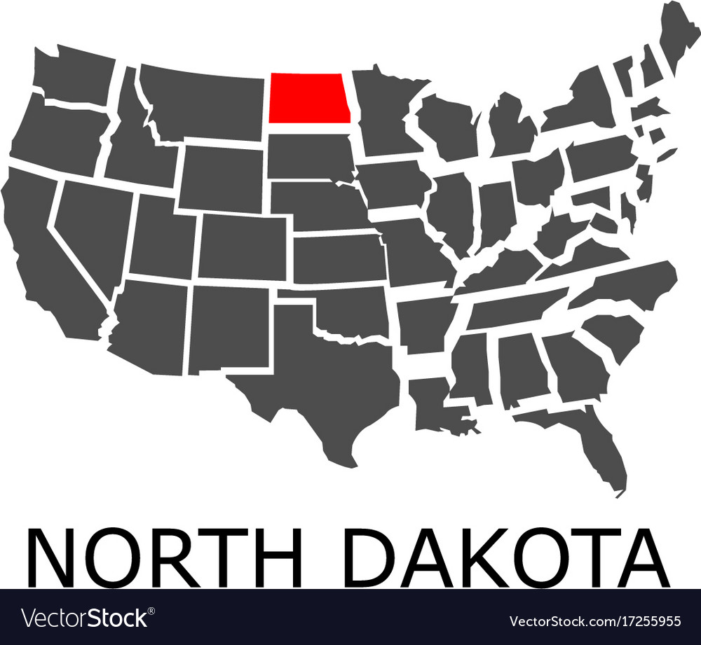 State of north dakota on map of usa Royalty Free Vector