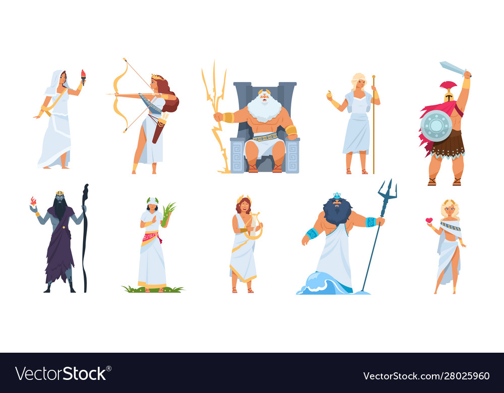 Ancient Greek Gods Cartoon Cute Legendary Vector Image