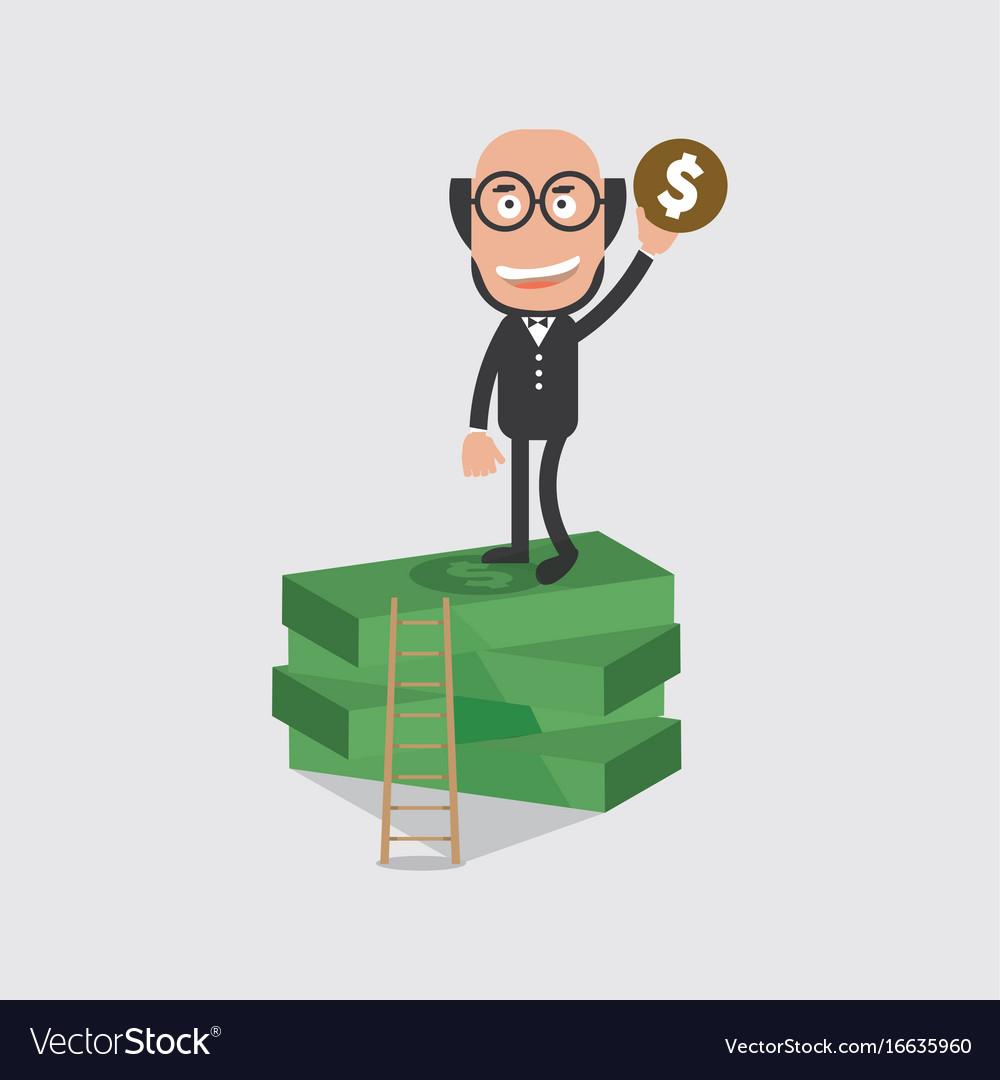 Bald head businessman on banknotes vector image