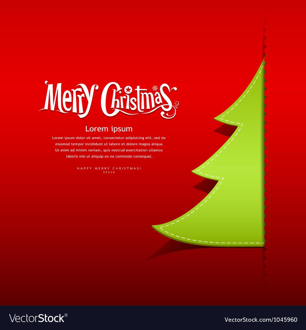 Christmas green tree paper design vector image