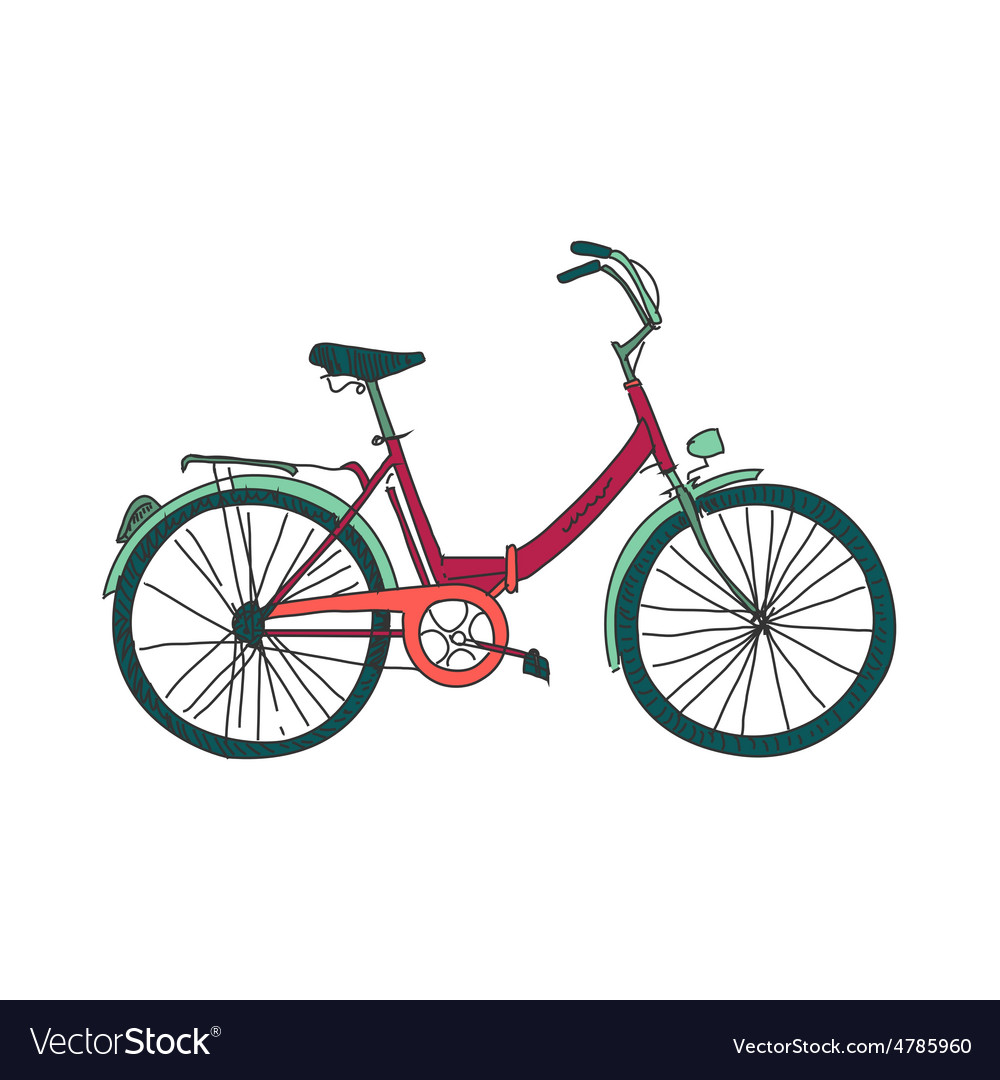 Colored doodle bicycle