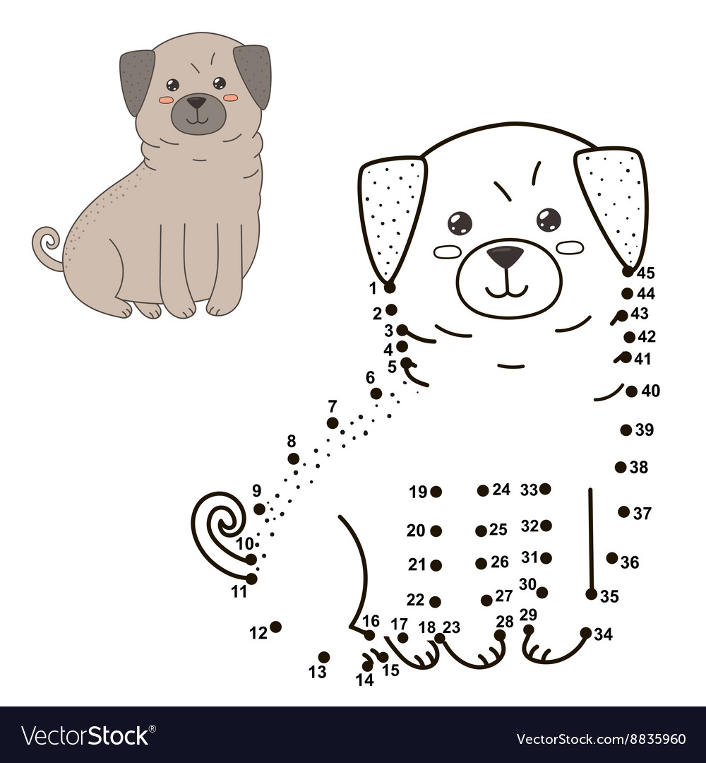 Connect The Dots To Draw The Cute Dog Royalty Free Vector