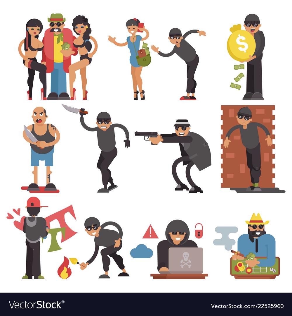Criminals burglars or burglar character of