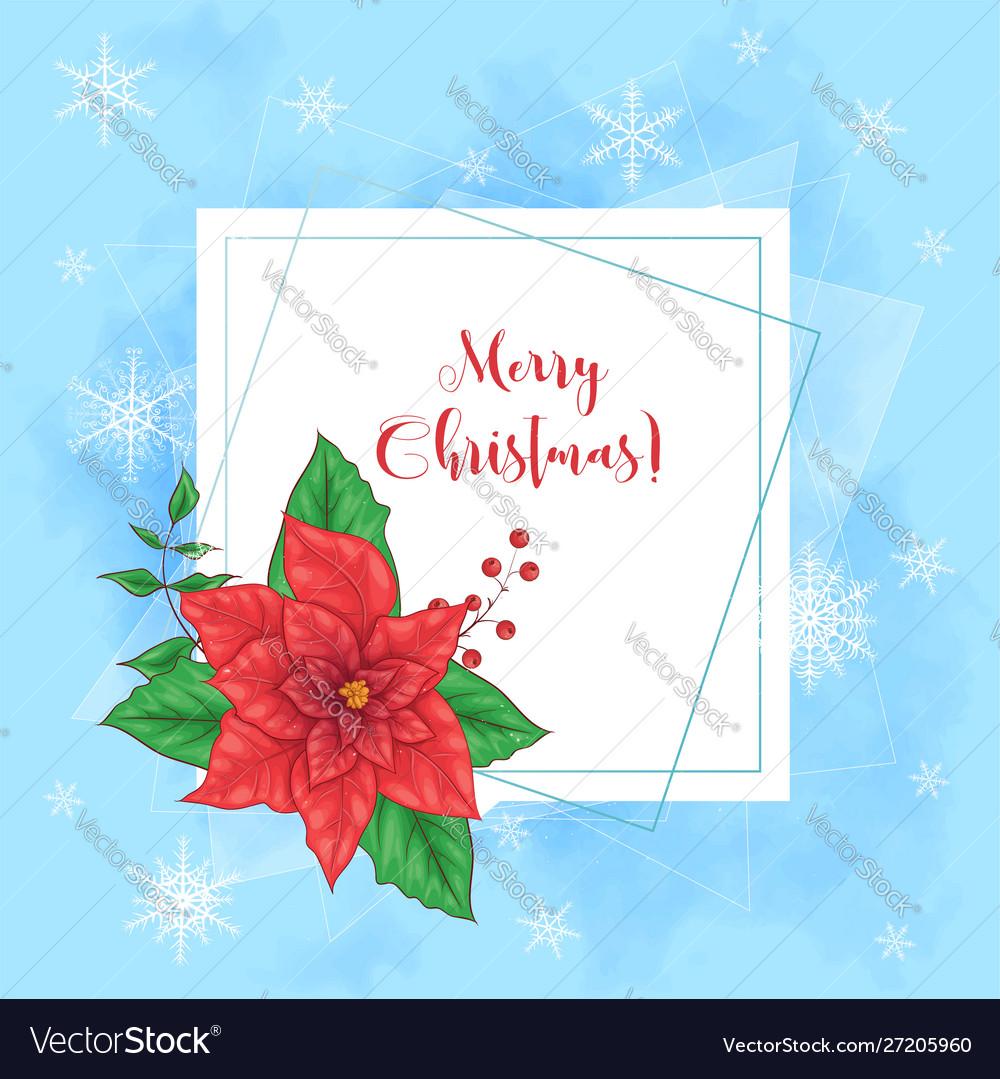 Cute christmas card with poinsettia wreath and