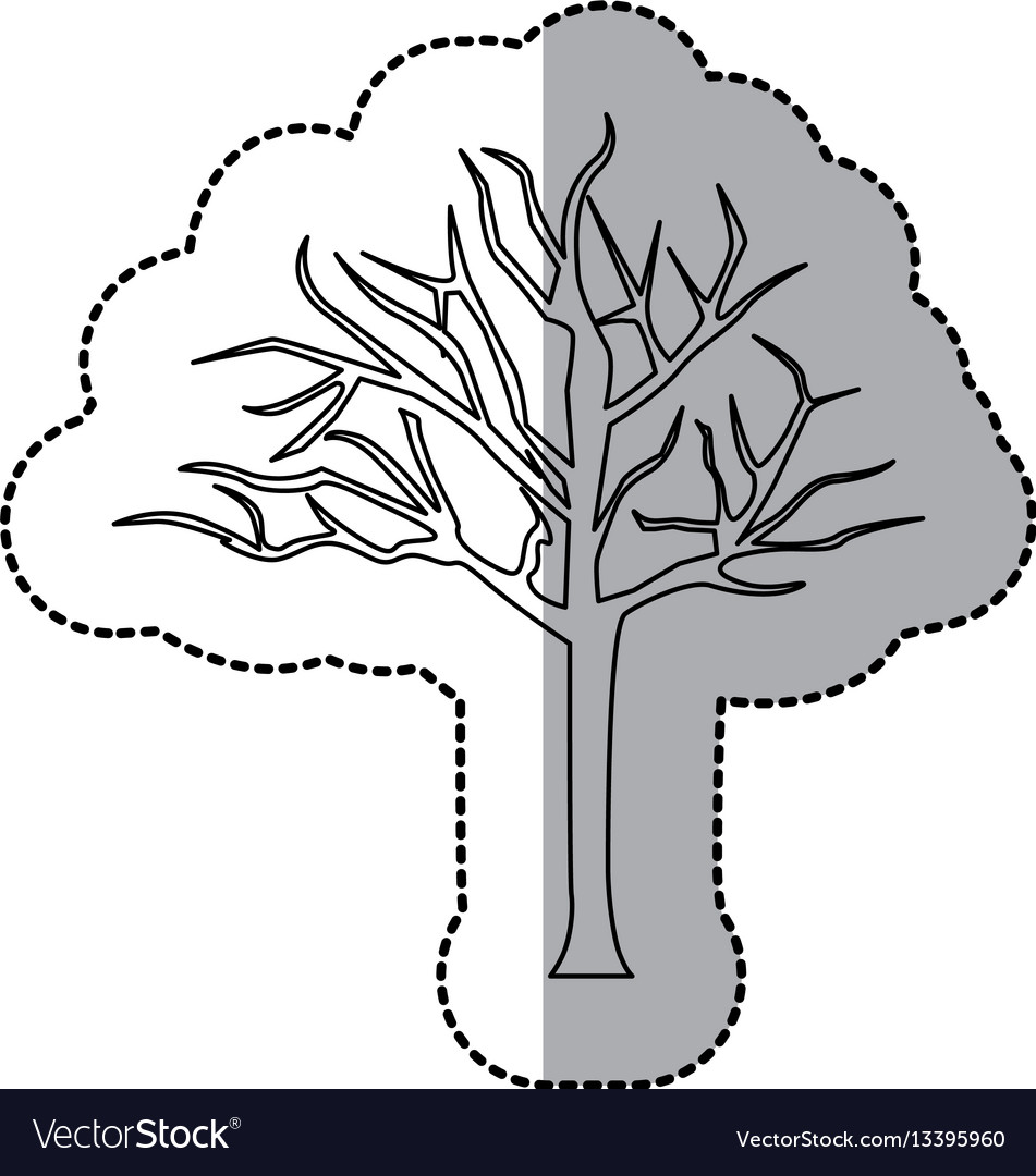 Figure bare oak tree icon
