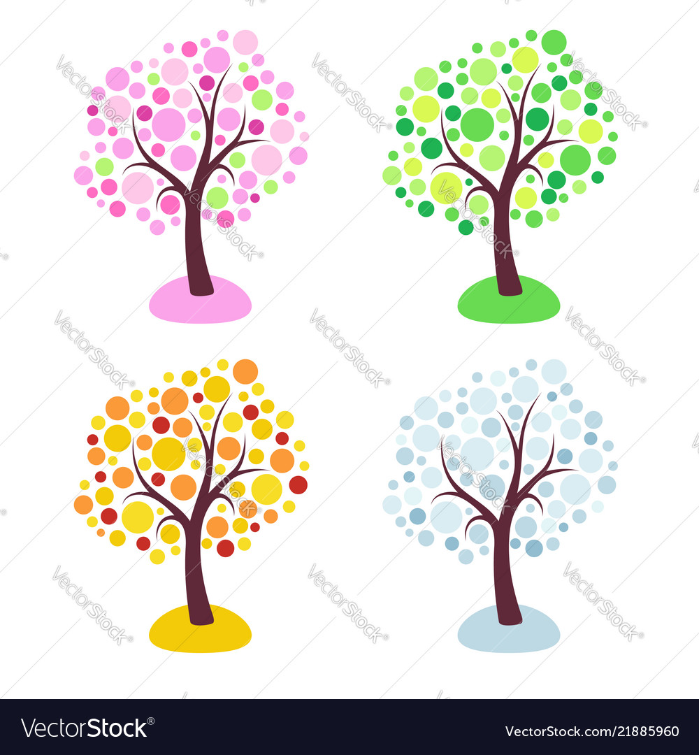 Four seasons trees stylized with circles isolated