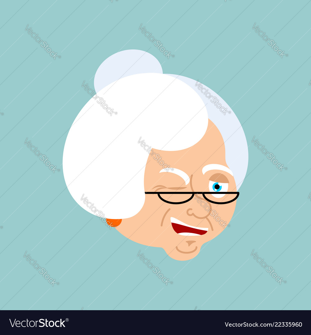 Grandmother winks emotion avatar face grandma