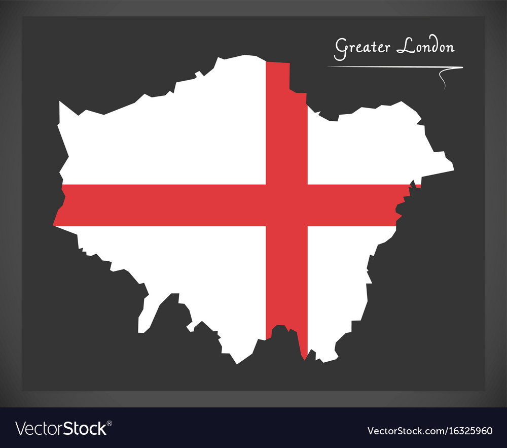 Greater london map england uk with english